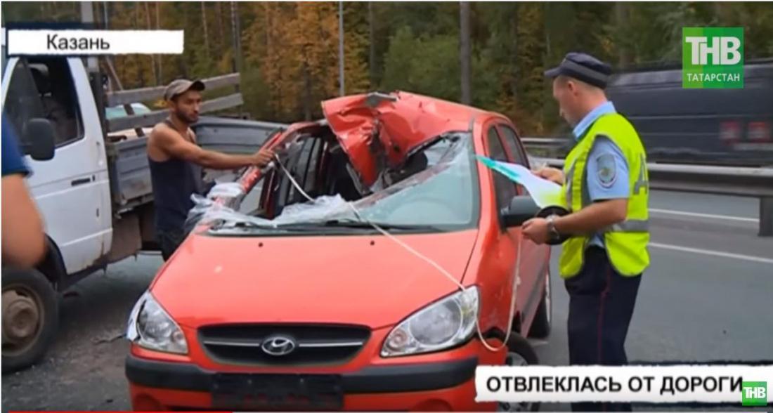"""В Казани автоледи на Hyundai Getz врезалась в """"Газель"""" (ВИДЕО)"""