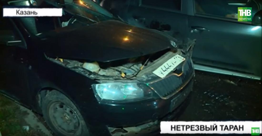 Пьяный водитель Skoda разбил два автомобиля в Казани (ВИДЕО)
