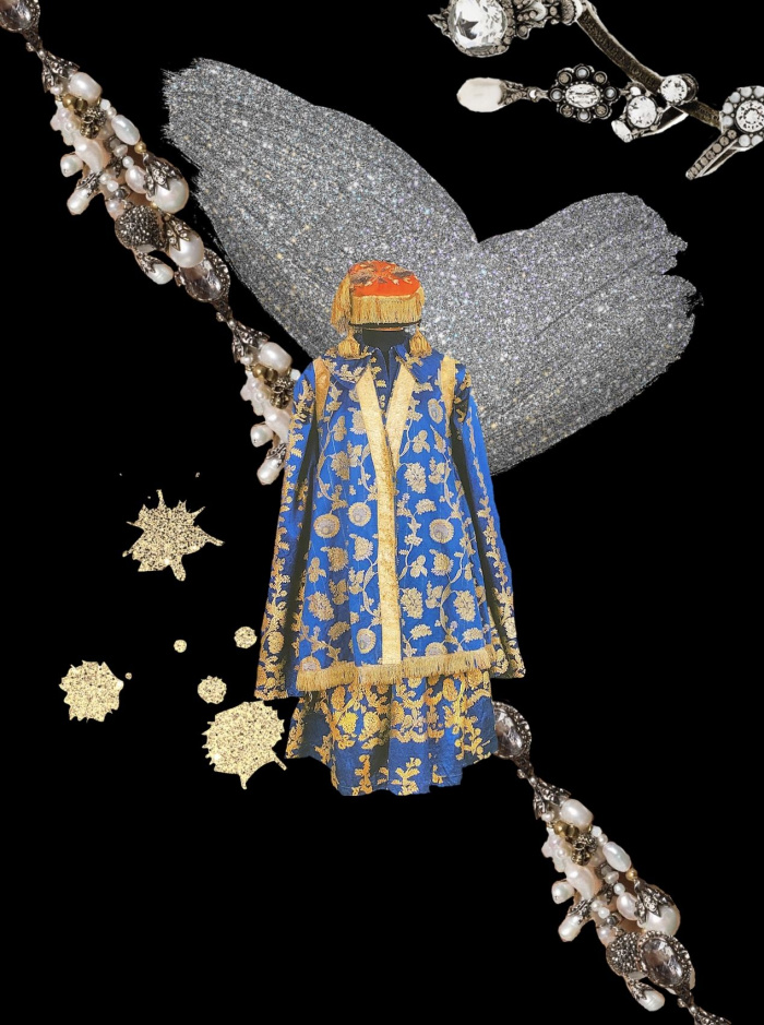 Традиционный татарский костюм: калфак с перьями, платье с вырезом, изю с камнями и ичиги на платформе - фото