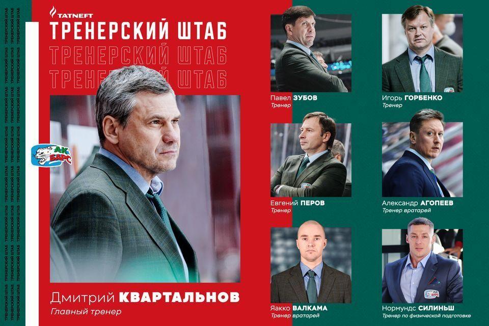 «Ак Барс» назвал обновленный тренерский штаб Квартальнова