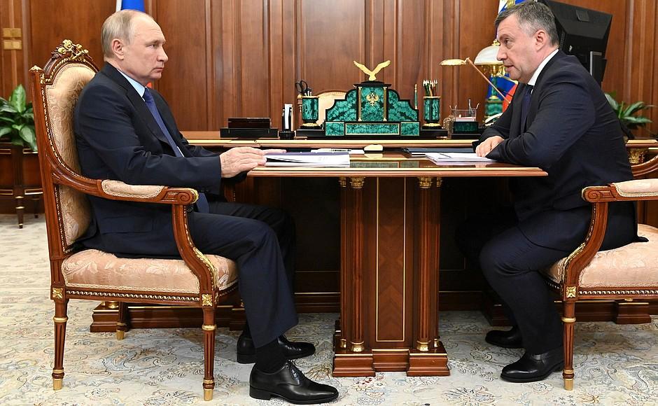 Путин принял в Кремле губернатора Иркутской области Кобзева