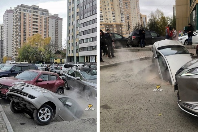 В яму с кипятком провалились два автомобиля в Новосибирске — видео
